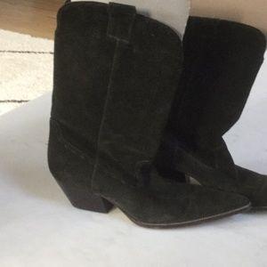 Michael kors green suede cowboy boots size 9